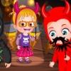 بازی آنلاین فلش بچه داری هیزل کوچولو و جشن هالووین در قلعه - دخترانه