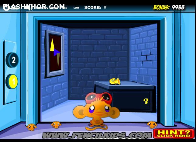 بازی آنلاین شاد کردن میمون: آسانسورها - ادونچر فکری فلش