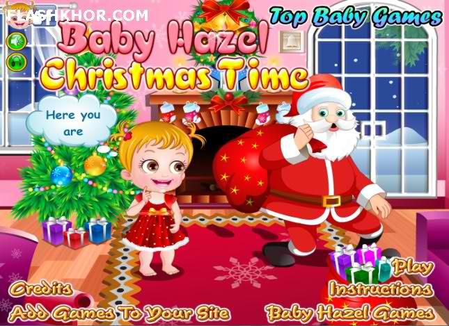 بازی آنلاین بچه داری هیزل کوچولو و کریسمس - دخترانه فلش