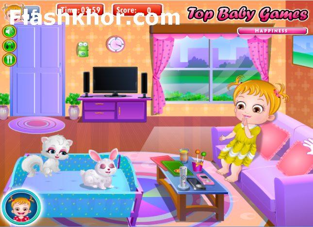 بازی آنلاین بچه داری هیزل کوچولو و تولد داداش - دخترانه فلش