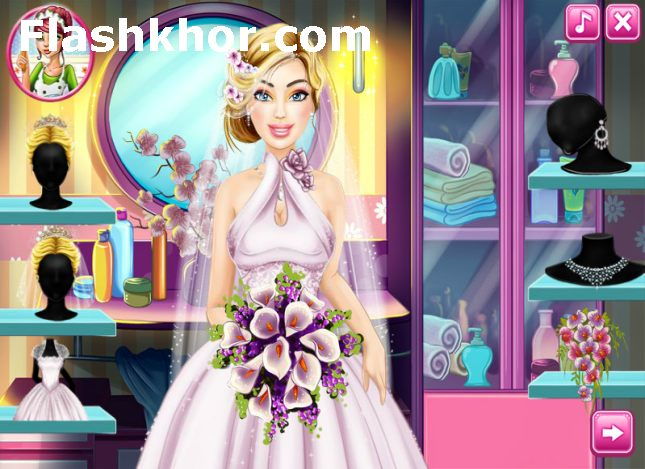 بازی آنلاین آرایش باربی و مدل لباس باربی عروس واقعی - دخترانه فلش