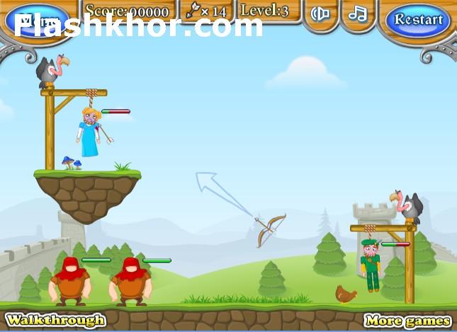 بازی آنلاین تیر و کمان نجات از چوبه دار 4 فلش