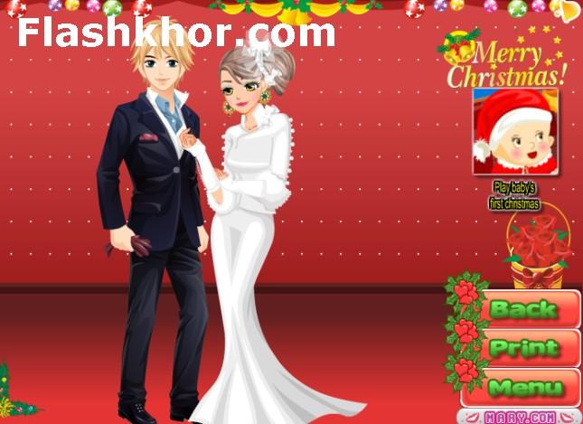 بازی آنلاین مدل لباس و آرایش عروسی کریسمس ایوا - دخترانه فلش