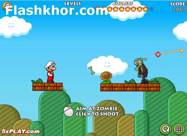 بازی آنلاین ماریو و زامبی ها فلش