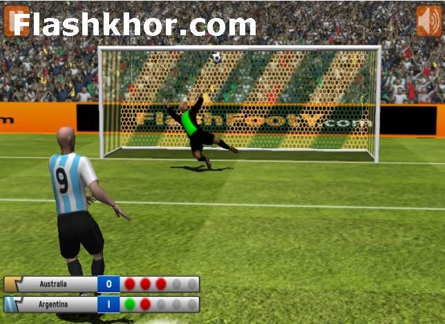 بازی آنلاین فوتبال جام جهانی پنالتی هیجان انگیز سه بعدی فلش