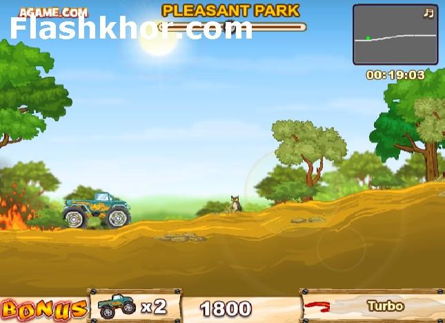 بازی آنلاین کامیون سواری هیولا در مقابل جنگل فلش