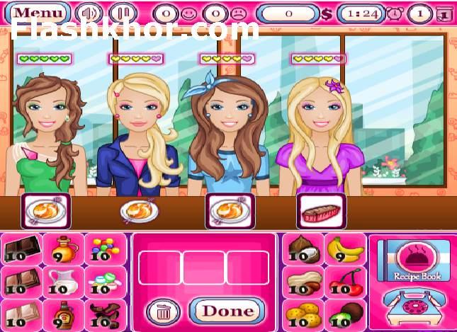 بازی آنلاین باربی فروشگاه آب نبات - دخترانه فلش