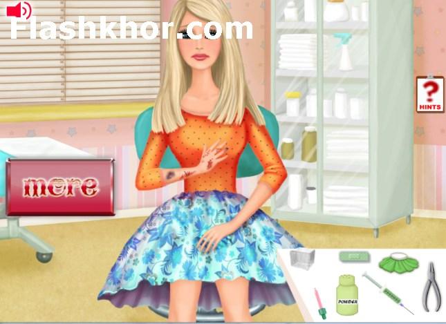 بازی آنلاین دکتری باربی معالجه دست - پزشکی دخترانه فلش