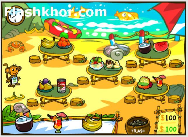 بازی آنلاین مدیریتی رستوران میمون ها - دخترانه فلش