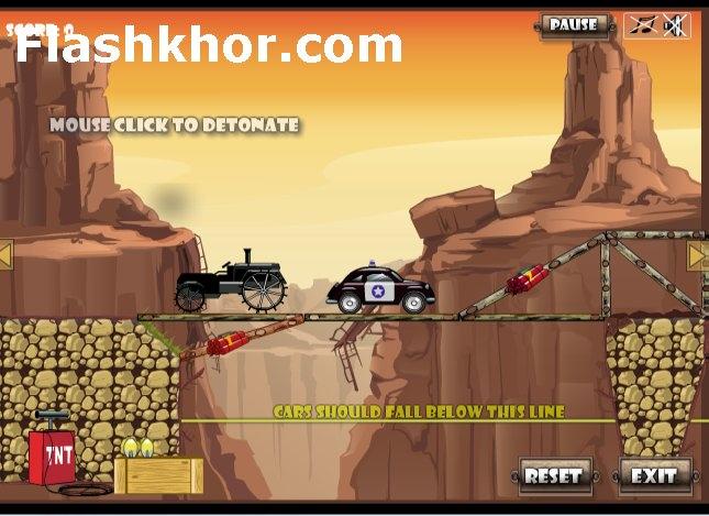 بازی آنلاین تخریب پل با دینامیت - فیزیک فلش