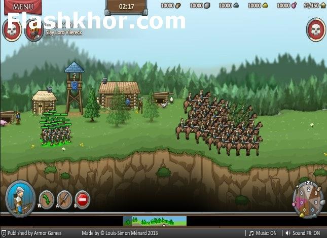 بازی آنلاین استراتژیک قلعه گرگ ها جنگی فلش