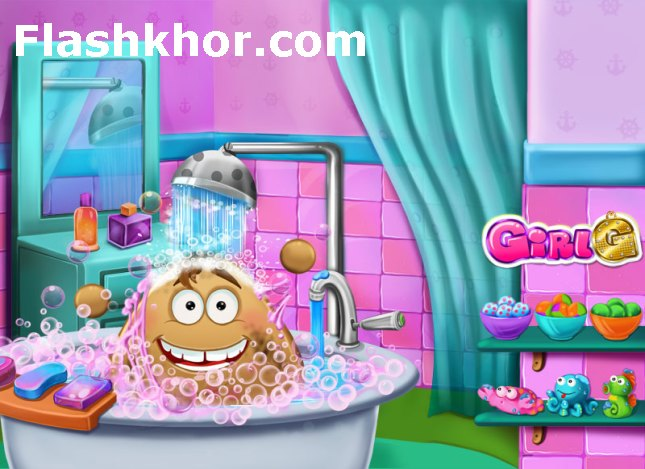 بازی آنلاین مراقبت از پو در حمام کردن پوپو فلش