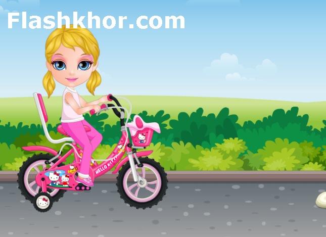 بازی آنلاین بچه ی باربی و دوچرخه سواری دخترانه فلش