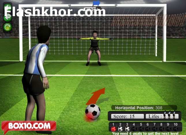 بازی آنلاین فوتبال پنالتی 12 متر فلش