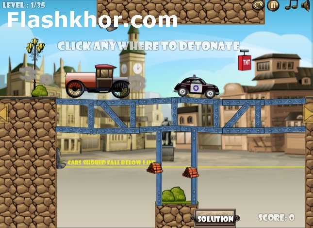 بازی آنلاین فیزیکی برای کامپیوتر تخریب پل با دینامیت 2 فلش