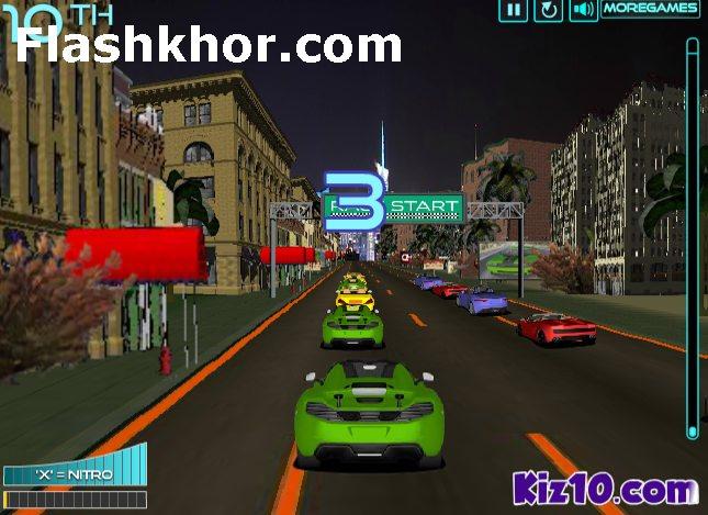 بازی آنلاین مسابقه ای ماشین سواری جدید فلش