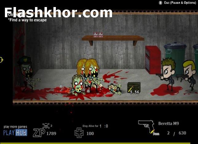 بازی آنلاین روزهای مرگبار شهر متروکه زامبی ها فلش
