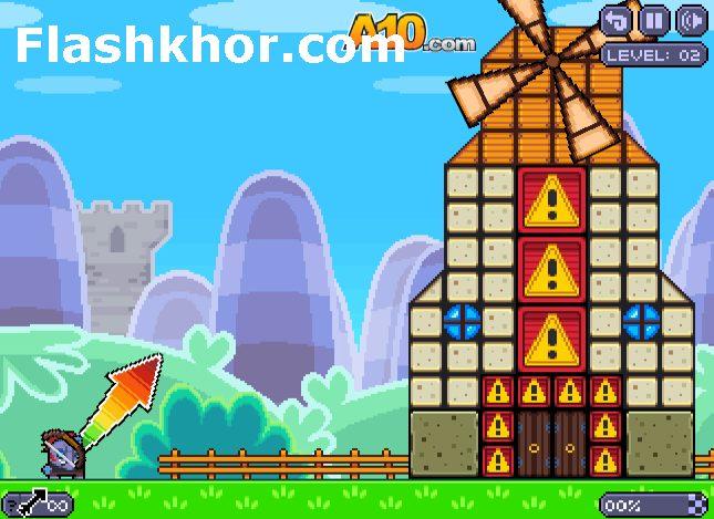 بازی آنلاین تخریب دیوار قلعه کابوم فیزیکی فلش