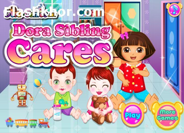 بازی آنلاین دورا بچه نگهدار بچه داری دورا فلش