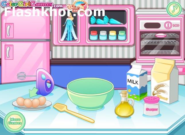 بازی آنلاین السا آشپزی کیک السا و انا فلش