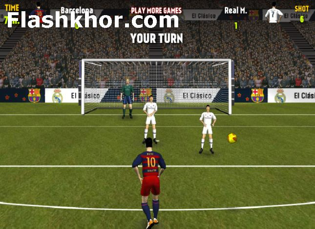 بازی آنلاین ال کلاسیکو فوتبال رئال مادرید بارسلونا لالیگا فلش