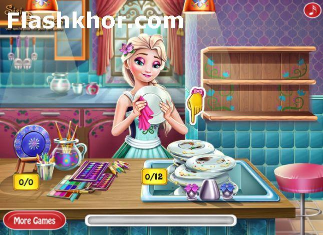 بازی ظرف شستن السا باربی بازی شستن ظرف های رستوران آنلاین