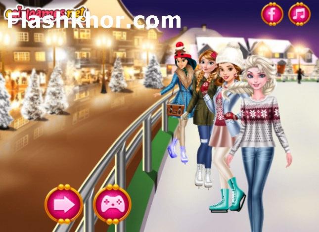 بازی باربی لباس زمستانی عکس سلفی پرنسس های دیزنی