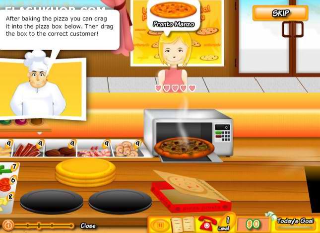 بازی آنلاین آشپزی پیتزا دخترانه فلش