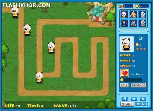 بازی آنلاین پانداهای مدافع - استراتژیک استراتژی فلش