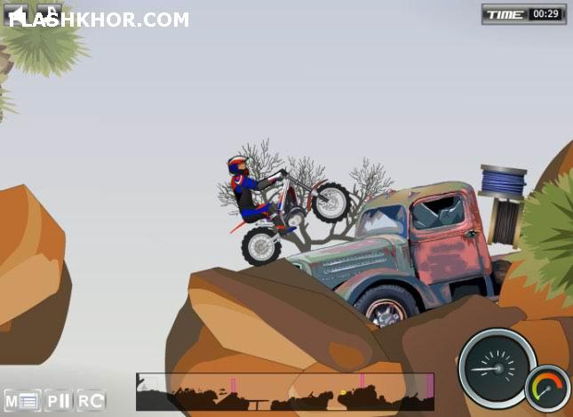 بازی آنلاین موتور سواری چالش موانع 2 - مراحل بیابان فلش