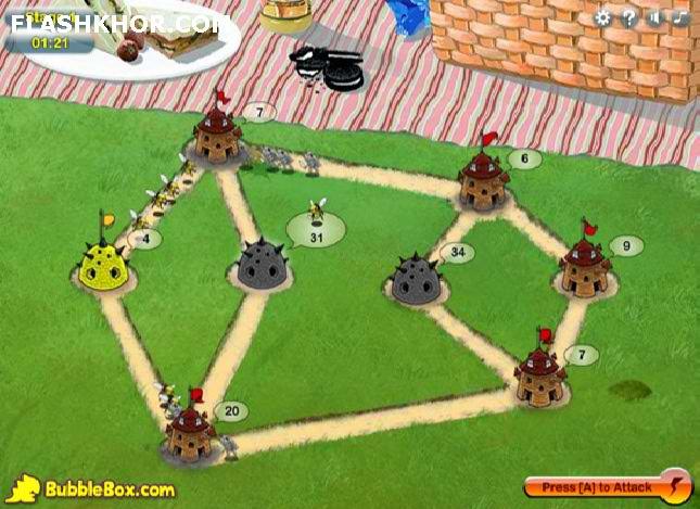 بازی آنلاین جنگ حشرات 2 - استراتژی فلش