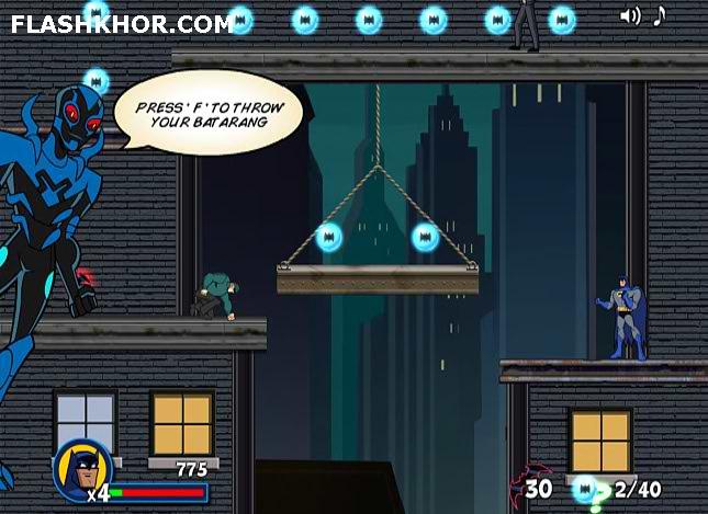 بازی آنلاین بتمن و مبارزه در پشت بام ها فلش
