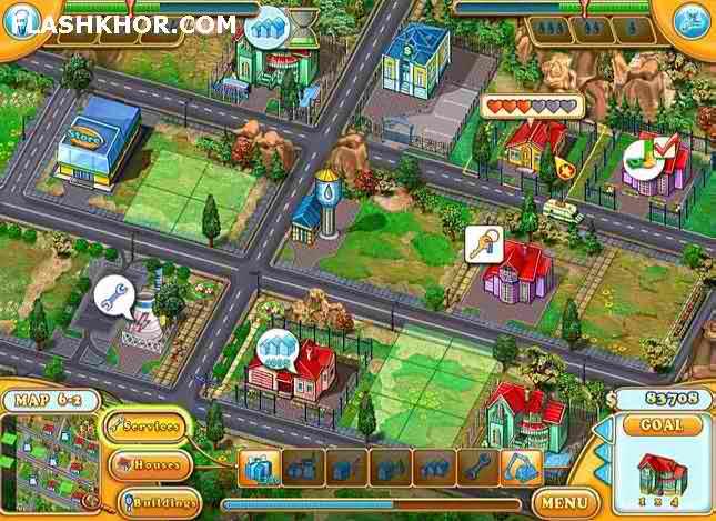 بازی آنلاین شهر سازی : شهردار خانم جین - دخترانه فلش