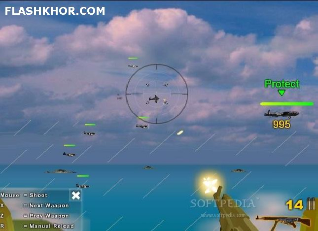 بازی آنلاین هواپیما محافظ آسمان فلش