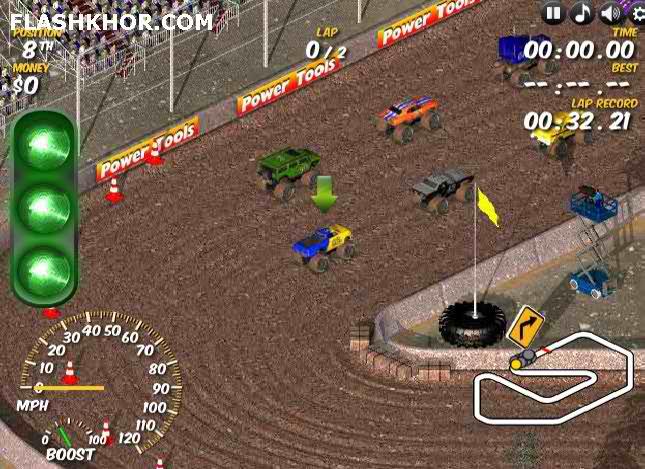 بازی آنلاین کامیون سواری در جاده خاکی - ورزشی فلش