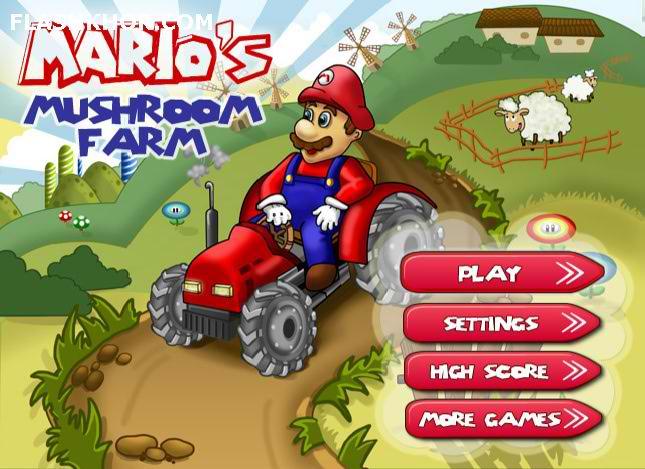 بازی آنلاین ماریو : تراکتور سواری در مزرعه قارچ - ورزشی فلش