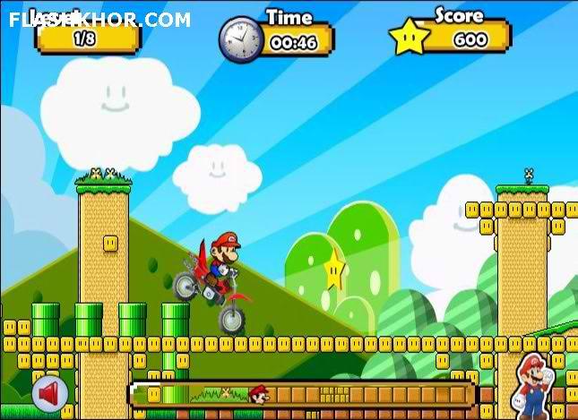 بازی آنلاین ماریو : ماریو عشق موتور سواری کراس - ورزشی فلش