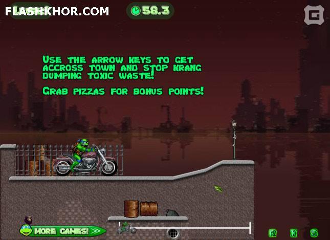 بازی آنلاین لاکپشت های نینجا : موتور سواری در شهر - ورزشی فلش