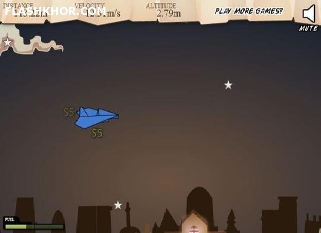 بازی آنلاین پرواز موشک کاغذی - ادونچر ماجرایی فلش