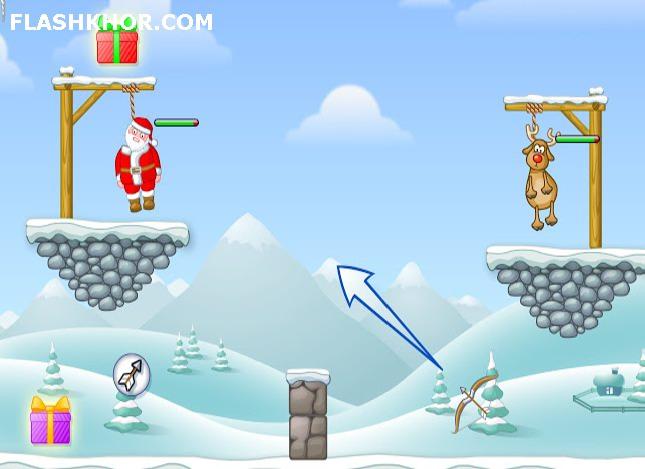 بازی آنلاین نجات از چوبه دار : بابا نوئل در خطر - تیر و کمان فلش