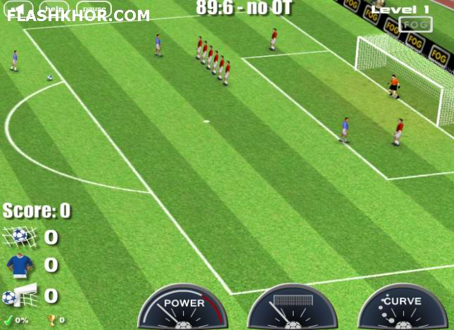 بازی آنلاین فوتبال ضربه ایستگاهی ضربه آزاد فوگ - ورزشی فلش
