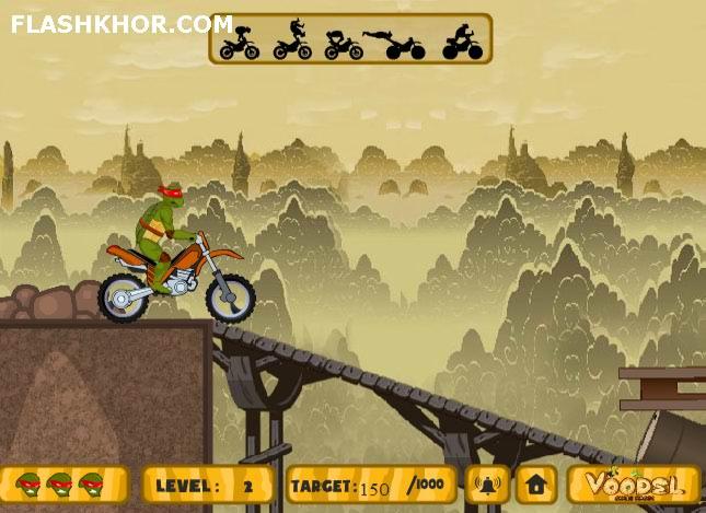 بازی آنلاین لاک پشت های نینجا موتور سواری حرکات نمایشی فلش