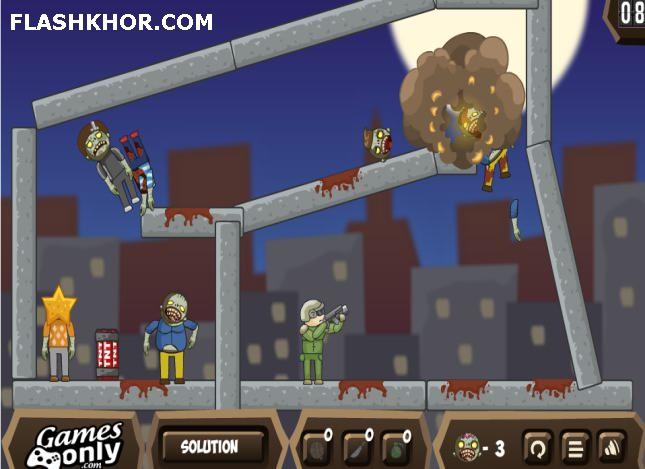 بازی آنلاین فکری بالون ها در مقابل زامبی ها - فیزیک فلش