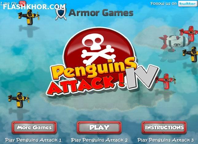 بازی آنلاین دفاع از برج حمله پنگوئن ها 4 فلش